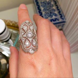 Jewelry - Rhodium Plated CZ Full Finger Statement Ring